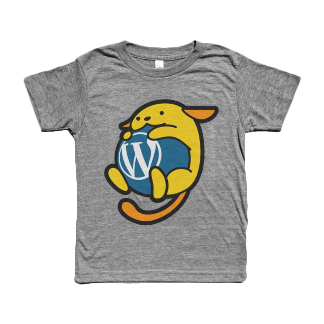Wapuu grey kids t shirt wordpress swag store for Wordpress t shirt store theme free