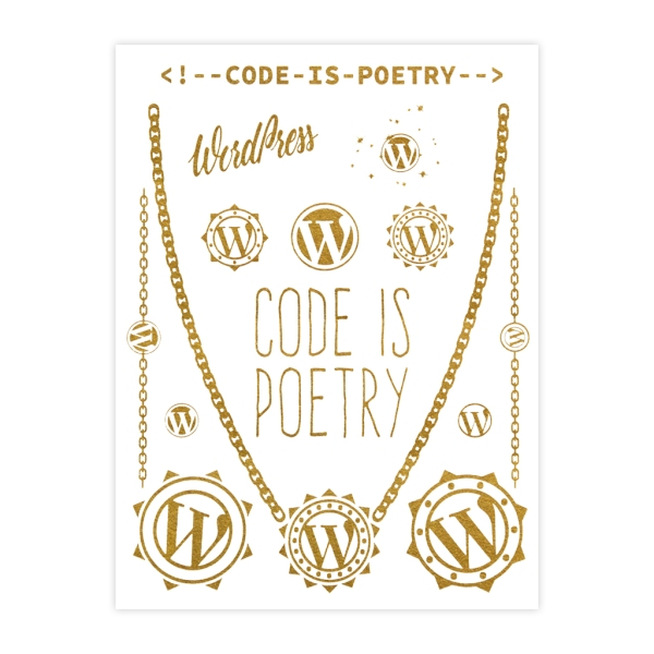 WordPress Gold Metallic Tattoo Sheet